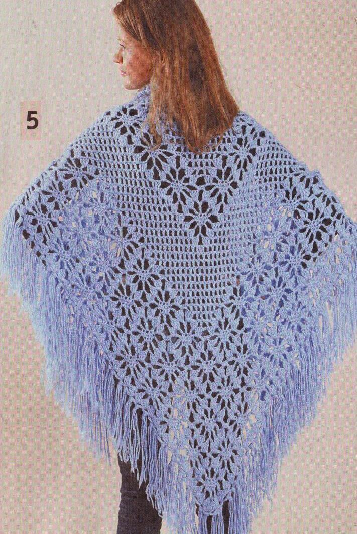 Вязание крючком шали, палантина - схемы и описания для начинающих